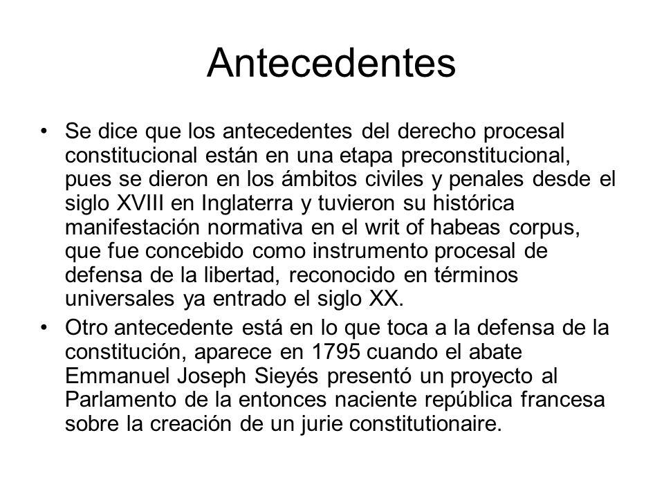 Antecedentes El Derecho Procesal Constitucional, es una disciplina nueva y en plena discusión, para denominar lo que desde los años treinta del siglo XX, en Europa, y desde los cuarenta del mismo siglo en América Latina, donde se conoce como jurisdicción constitucional.