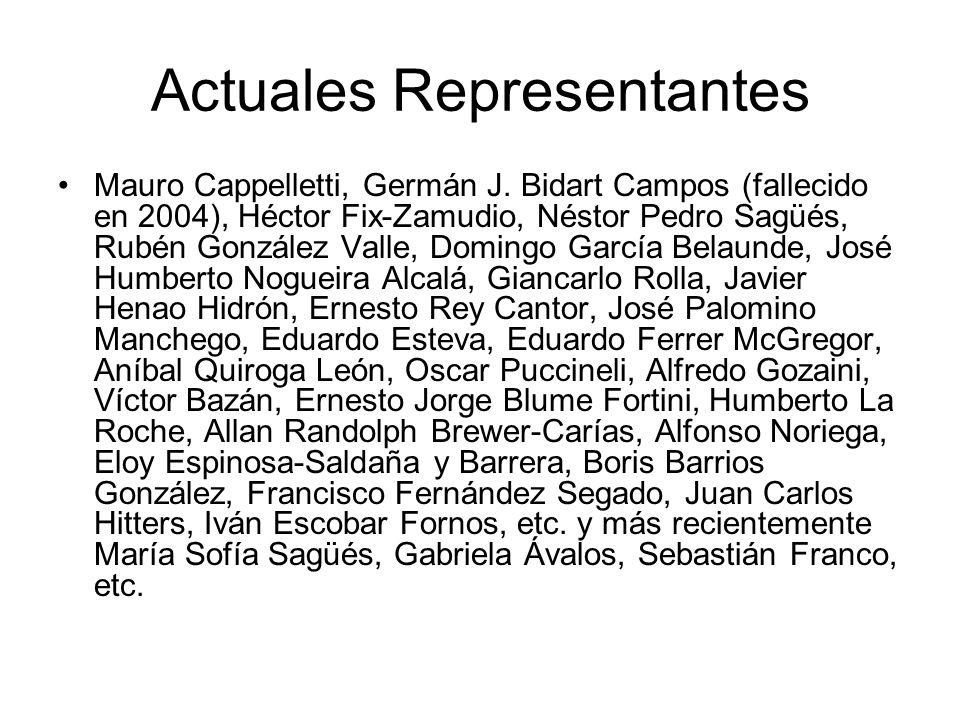 Actuales Representantes Mauro Cappelletti, Germán J. Bidart Campos (fallecido en 2004), Héctor Fix-Zamudio, Néstor Pedro Sagüés, Rubén González Valle,