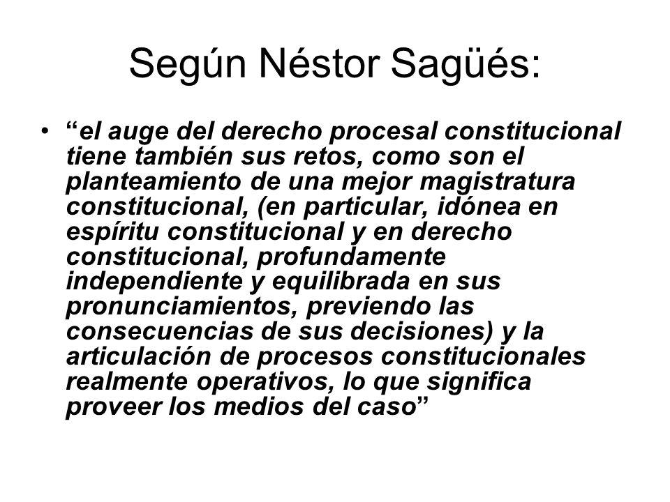 Según Néstor Sagüés: el auge del derecho procesal constitucional tiene también sus retos, como son el planteamiento de una mejor magistratura constitu