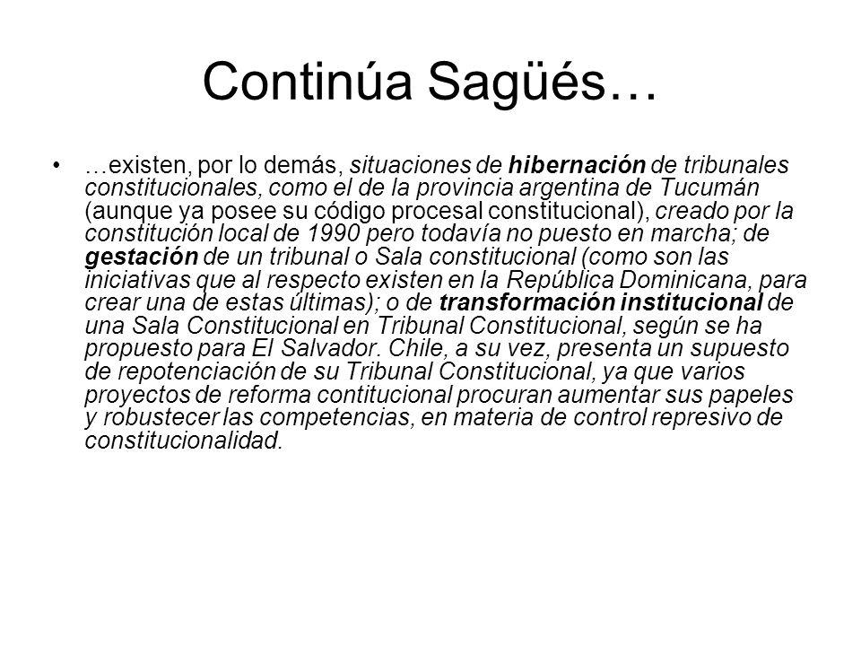 Continúa Sagüés… …existen, por lo demás, situaciones de hibernación de tribunales constitucionales, como el de la provincia argentina de Tucumán (aunq