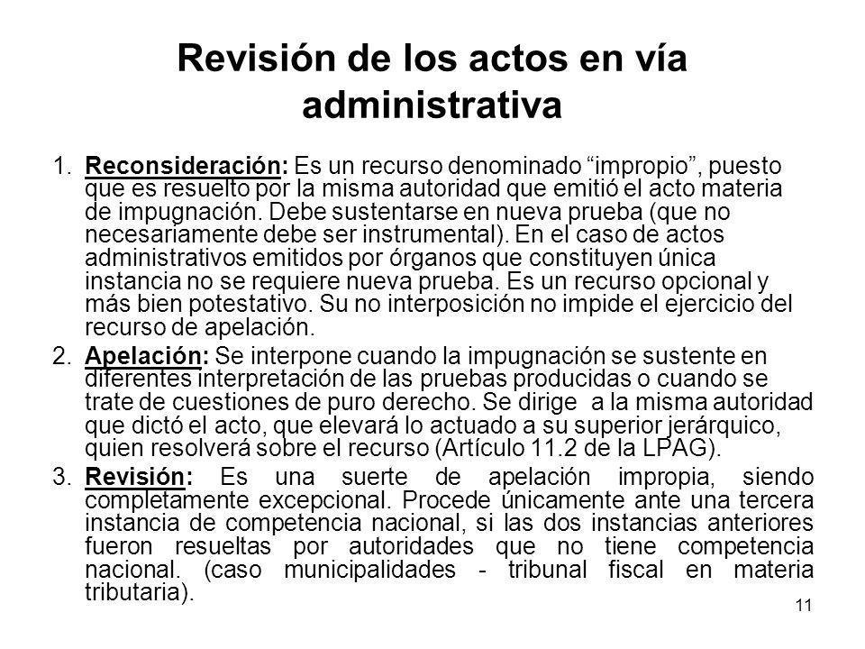 11 Revisión de los actos en vía administrativa 1.Reconsideración: Es un recurso denominado impropio, puesto que es resuelto por la misma autoridad que