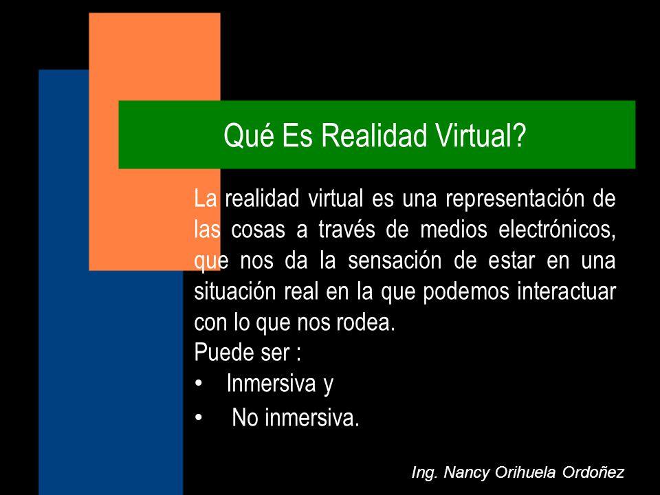 Qué Es Realidad Virtual? Ing. Nancy Orihuela Ordoñez La realidad virtual es una representación de las cosas a través de medios electrónicos, que nos d