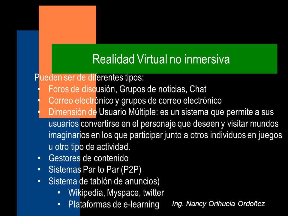 Realidad Virtual no inmersiva Ing. Nancy Orihuela Ordoñez Pueden ser de diferentes tipos: Foros de discusión, Grupos de noticias, Chat Correo electrón