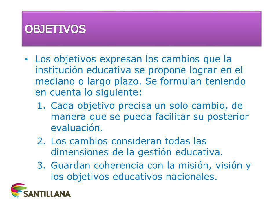 Los objetivos expresan los cambios que la institución educativa se propone lograr en el mediano o largo plazo. Se formulan teniendo en cuenta lo sigui