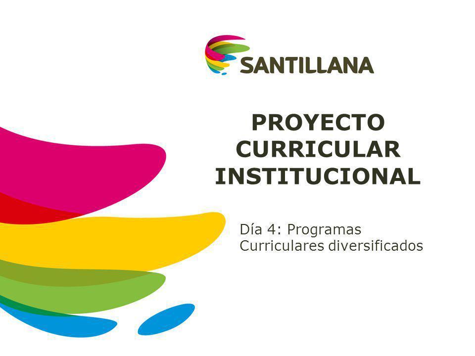 PROYECTO CURRICULAR INSTITUCIONAL Día 4: Programas Curriculares diversificados
