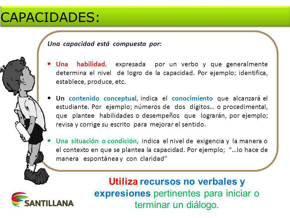 Una capacidad está compuesta por: Una habilidad, expresada por un verbo y que generalmente determina el nivel de logro de la capacidad.