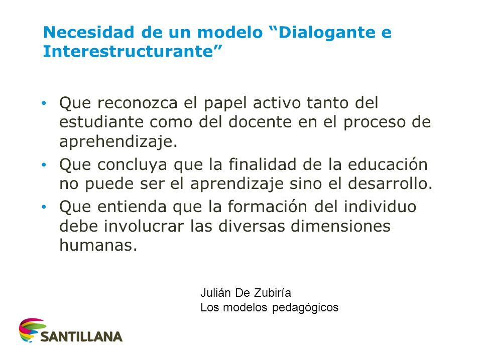 Necesidad de un modelo Dialogante e Interestructurante Que reconozca el papel activo tanto del estudiante como del docente en el proceso de aprehendiz