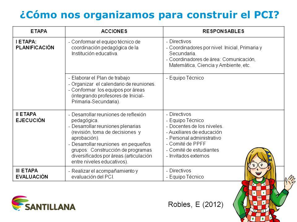 ETAPAACCIONESRESPONSABLES I ETAPA: PLANIFICACIÓN - Conformar el equipo técnico de coordinación pedagógica de la Institución educativa. - Directivos -