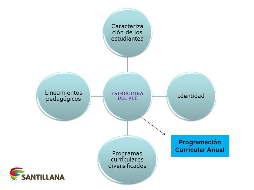 ESTRUCTURA DEL PCI Caracteriza ción de los estudiantes Identidad Programas curriculares diversificados Lineamientos pedagógicos Programación Curricula