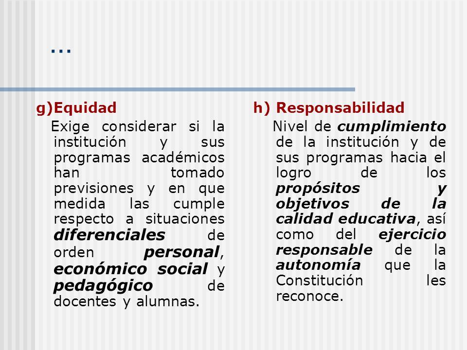 … g)Equidad Exige considerar si la institución y sus programas académicos han tomado previsiones y en que medida las cumple respecto a situaciones dif