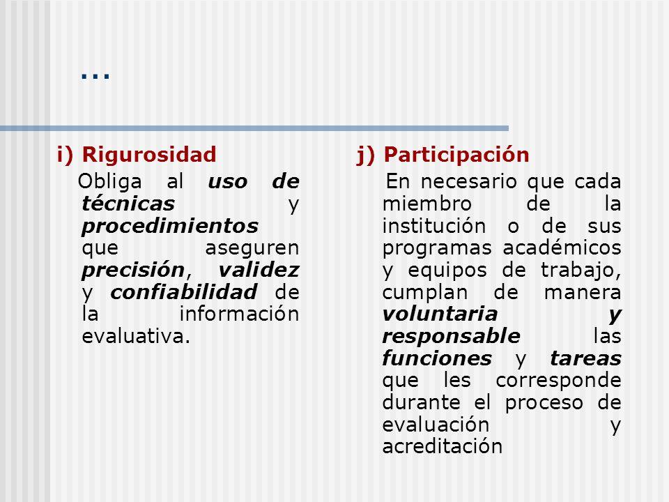 … i) Rigurosidad Obliga al uso de técnicas y procedimientos que aseguren precisión, validez y confiabilidad de la información evaluativa. j) Participa