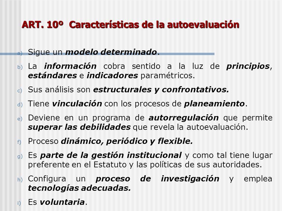 ART. 10º Características de la autoevaluación a) Sigue un modelo determinado. b) La información cobra sentido a la luz de principios, estándares e ind