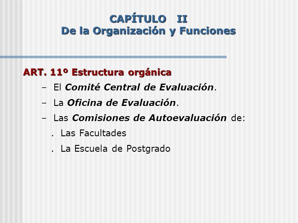 ART. 11º Estructura orgánica – El Comité Central de Evaluación. – El Comité Central de Evaluación. – La Oficina de Evaluación. – La Oficina de Evaluac