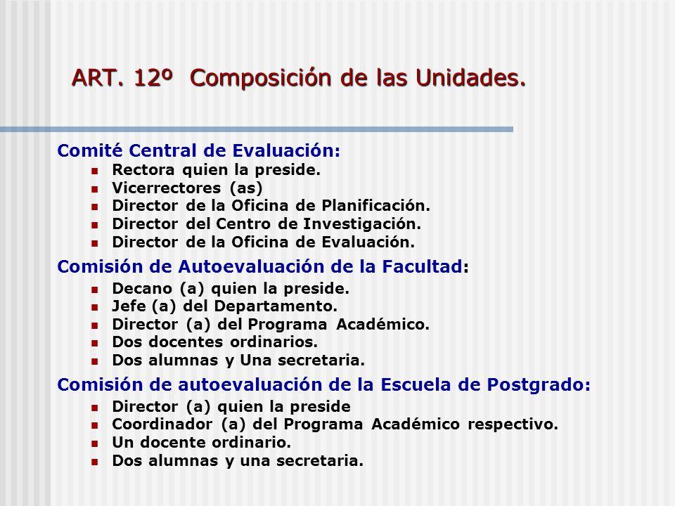 ART. 12º Composición de las Unidades. Comité Central de Evaluación: Rectora quien la preside. Vicerrectores (as) Director de la Oficina de Planificaci