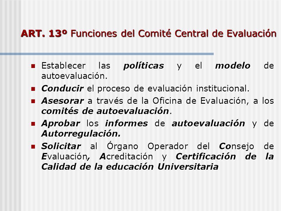 ART. 13º Funciones del Comité Central de Evaluación Establecer las políticas y el modelo de autoevaluación. Establecer las políticas y el modelo de au