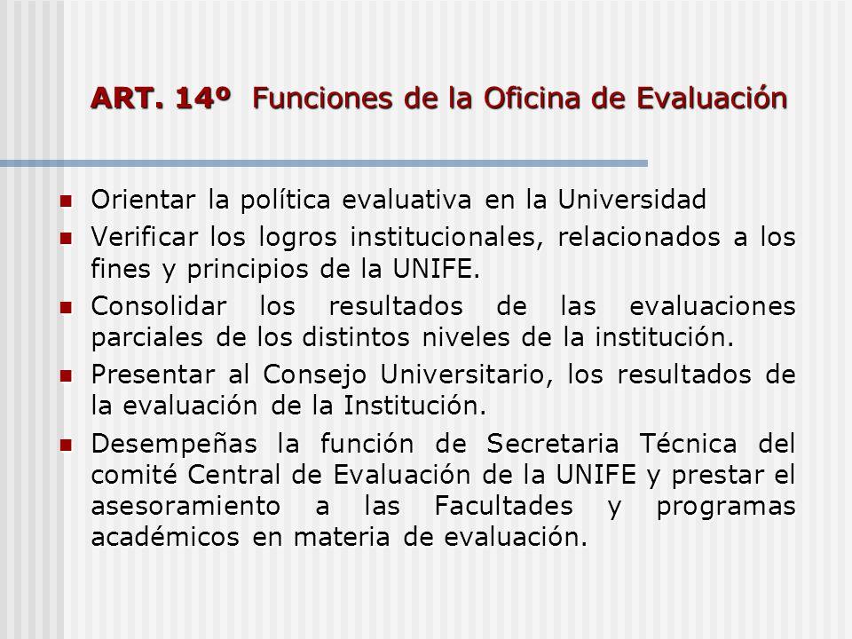 ART. 14º Funciones de la Oficina de Evaluación Orientar la política evaluativa en la Universidad Orientar la política evaluativa en la Universidad Ver