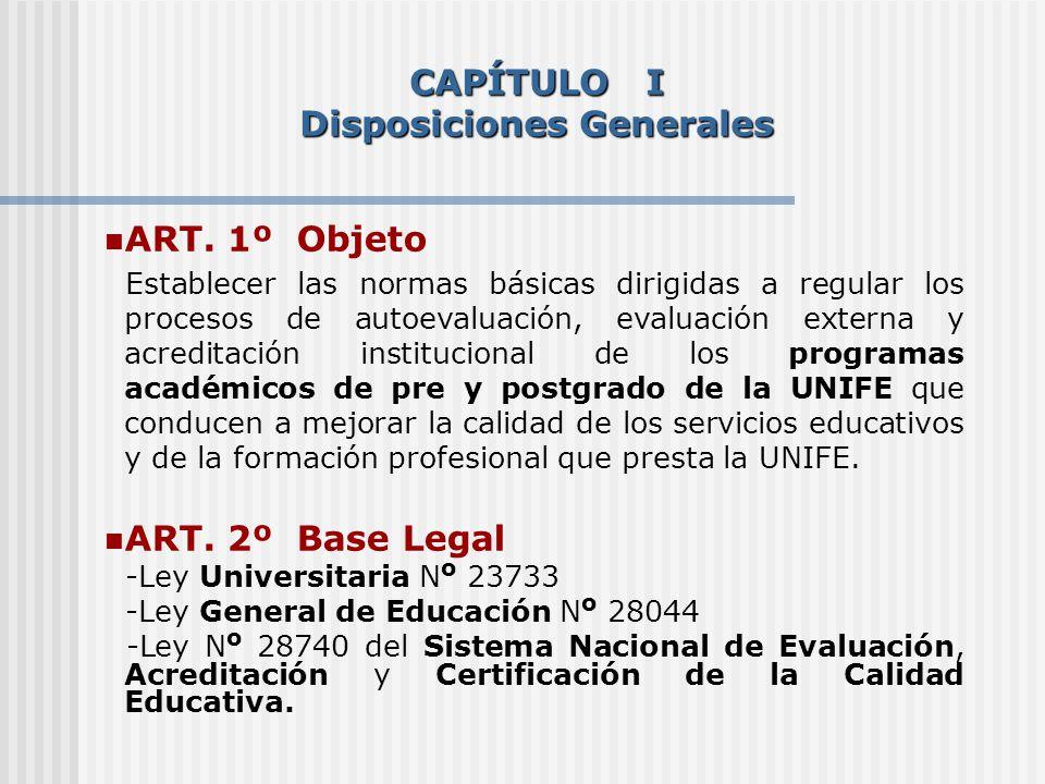 ART. 1º Objeto Establecer las normas básicas dirigidas a regular los procesos de autoevaluación, evaluación externa y acreditación institucional de lo