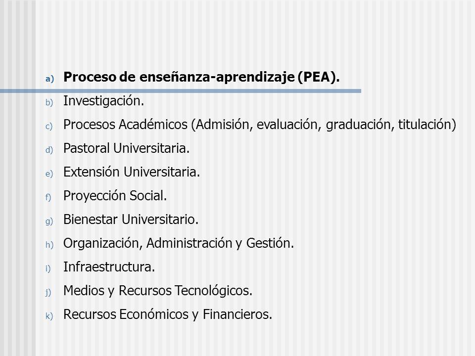 a) Proceso de enseñanza-aprendizaje (PEA). b) Investigación. c) Procesos Académicos (Admisión, evaluación, graduación, titulación) d) Pastoral Univers