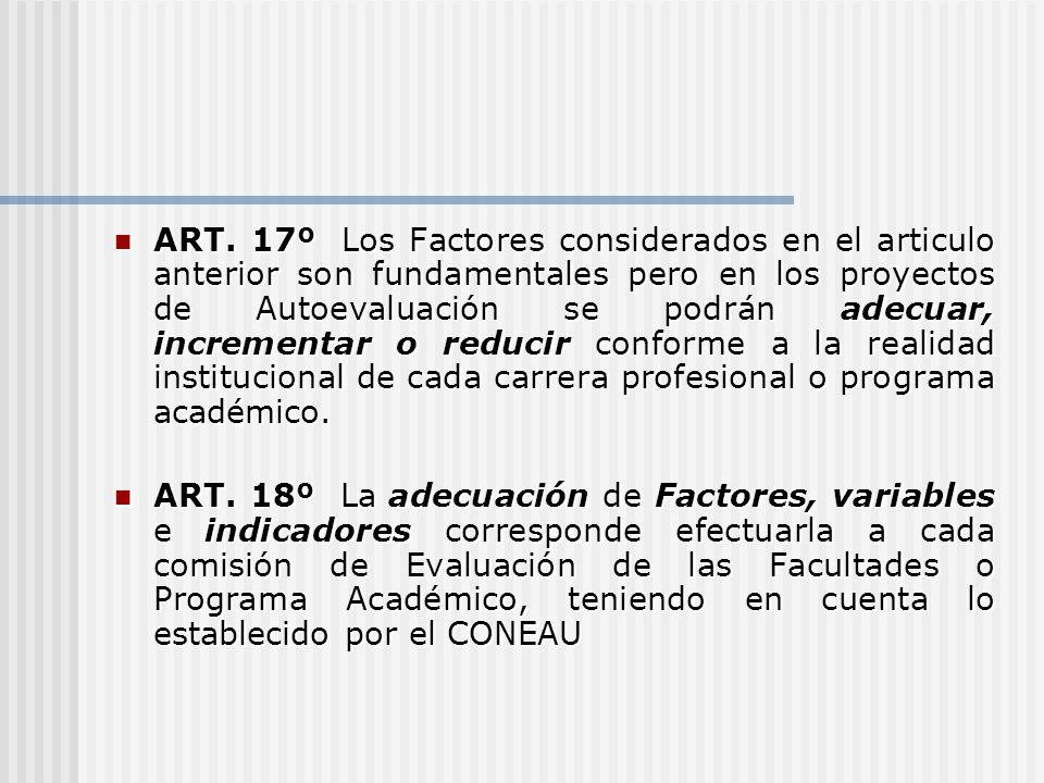 ART. 17º Los Factores considerados en el articulo anterior son fundamentales pero en los proyectos de Autoevaluación se podrán adecuar, incrementar o