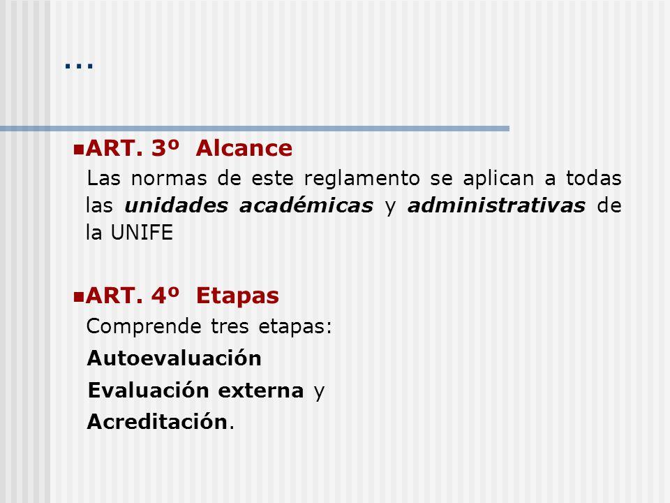 … ART. 3º Alcance Las normas de este reglamento se aplican a todas las unidades académicas y administrativas de la UNIFE ART. 4º Etapas Comprende tres