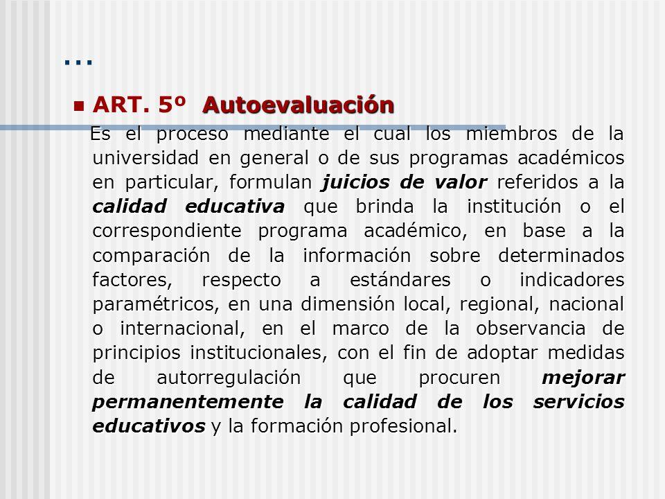 … Autoevaluación ART. 5º Autoevaluación Es el proceso mediante el cual los miembros de la universidad en general o de sus programas académicos en part