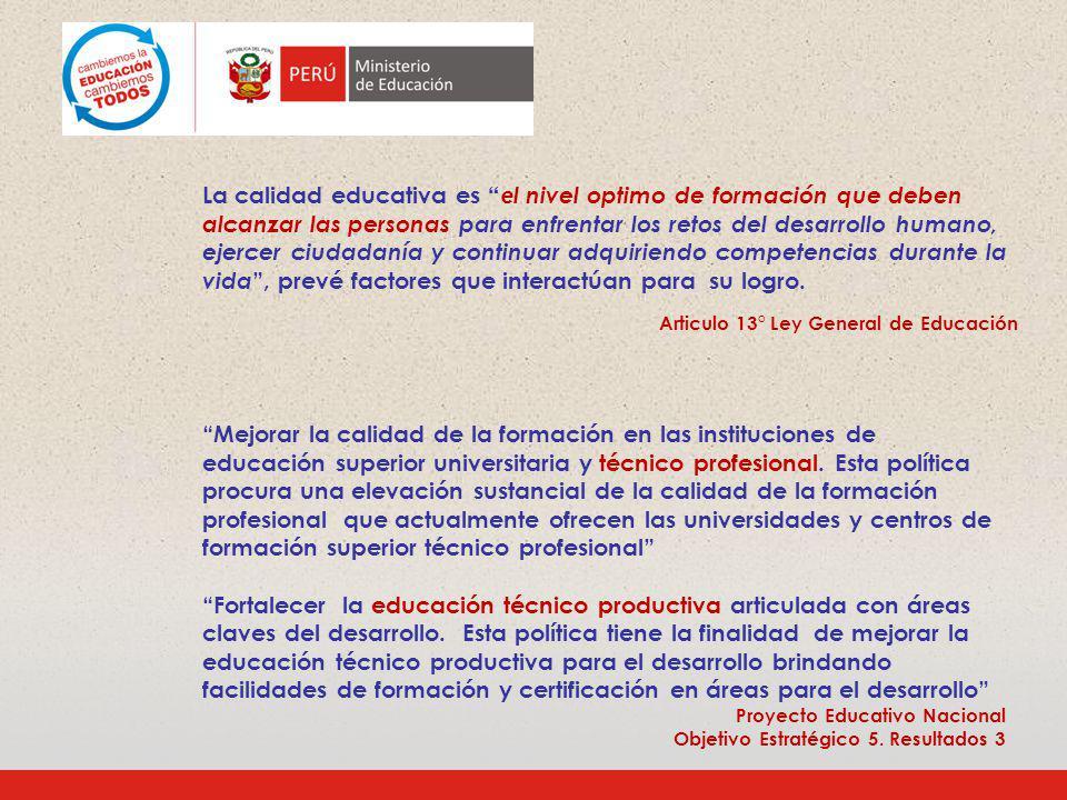 En el Perú la educación y la formación técnica y profesional tiene tres expresiones en el sistema educativo: la Educación para el trabajo que corresponde al nivel secundario de la EBR; la Educación Técnico Productiva que es una forma educativa independiente en el sistema educativo aunque administrativamente corresponda a la EBR; y, la Educación Superior Tecnológica que corresponde al nivel superior no Universitario.