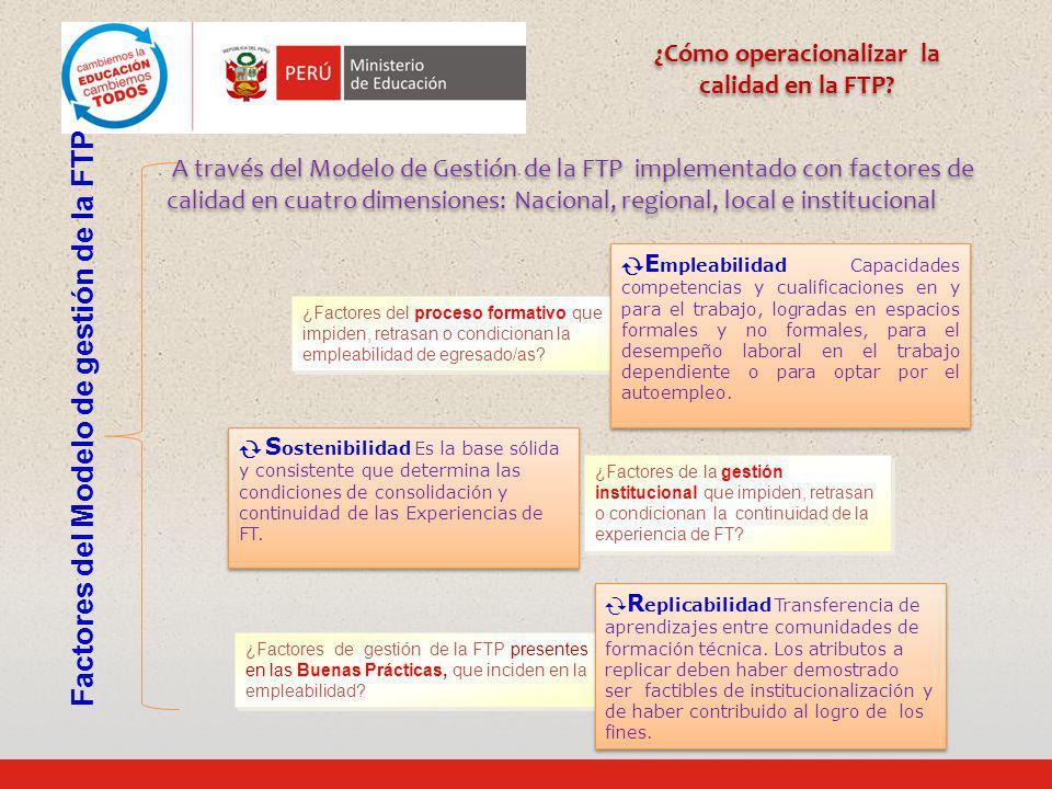 ¿Factores de gestión de la FTP presentes en las Buenas Prácticas, que inciden en la empleabilidad? ¿Factores del proceso formativo que impiden, retras