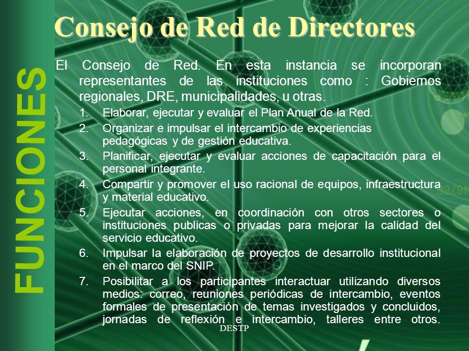 DESTP FUNCIONES Consejo de Red de Directores El Consejo de Red. En esta instancia se incorporan representantes de las instituciones como : Gobiernos r