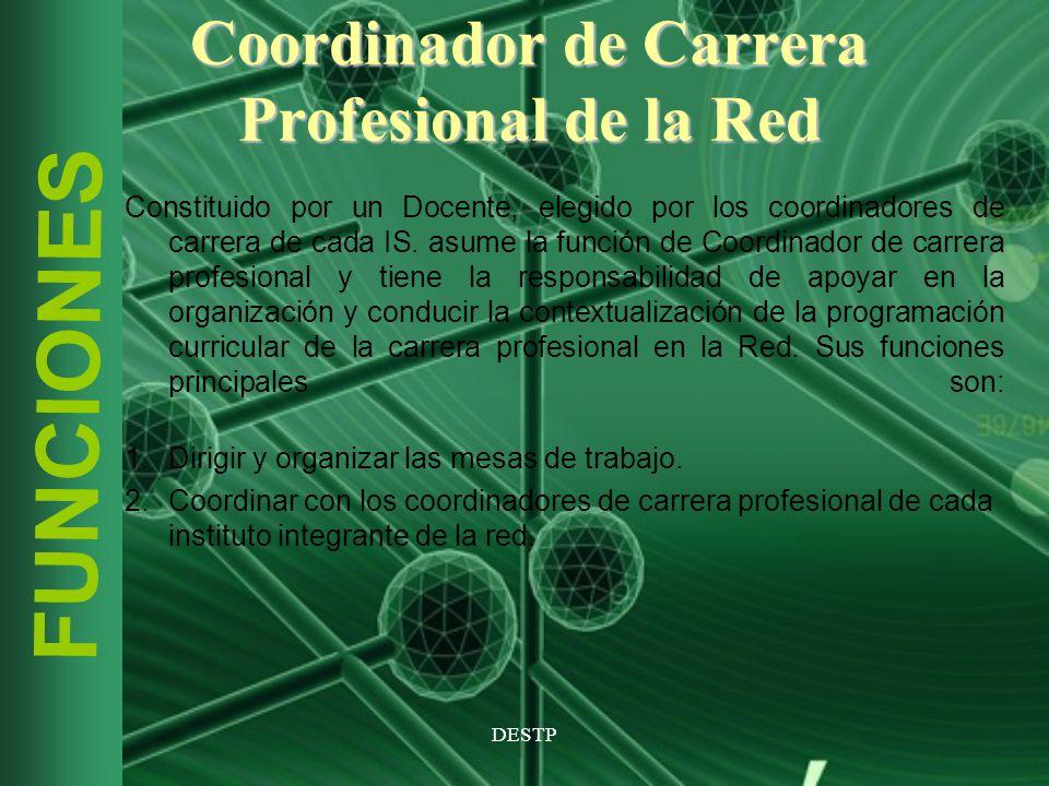DESTP FUNCIONES Coordinador de Carrera Profesional de la Red Constituido por un Docente, elegido por los coordinadores de carrera de cada IS. asume la