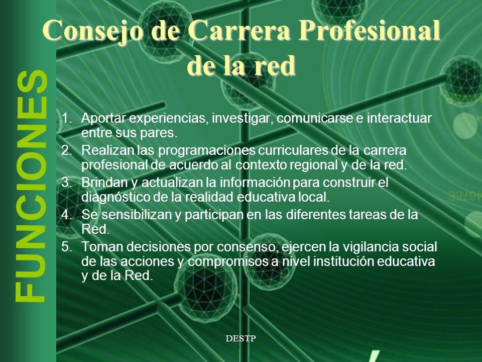 DESTP FUNCIONES Consejo de Carrera Profesional de la red 1.Aportar experiencias, investigar, comunicarse e interactuar entre sus pares. 2.Realizan las