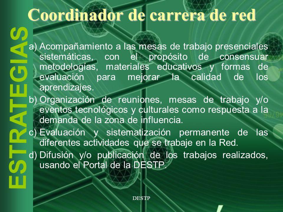 DESTP ESTRATEGIAS Coordinador de carrera de red a)Acompañamiento a las mesas de trabajo presenciales sistemáticas, con el propósito de consensuar meto