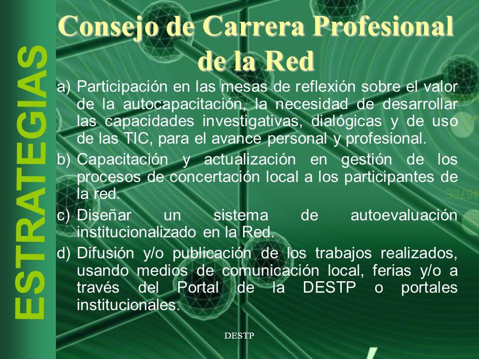DESTP ESTRATEGIAS Consejo de Carrera Profesional de la Red a)Participación en las mesas de reflexión sobre el valor de la autocapacitación, la necesid
