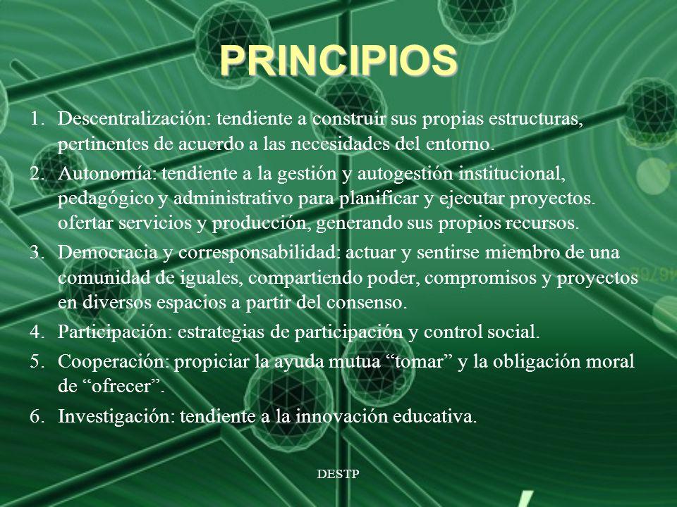 DESTP PRINCIPIOS 1.Descentralización: tendiente a construir sus propias estructuras, pertinentes de acuerdo a las necesidades del entorno. 2.Autonomía