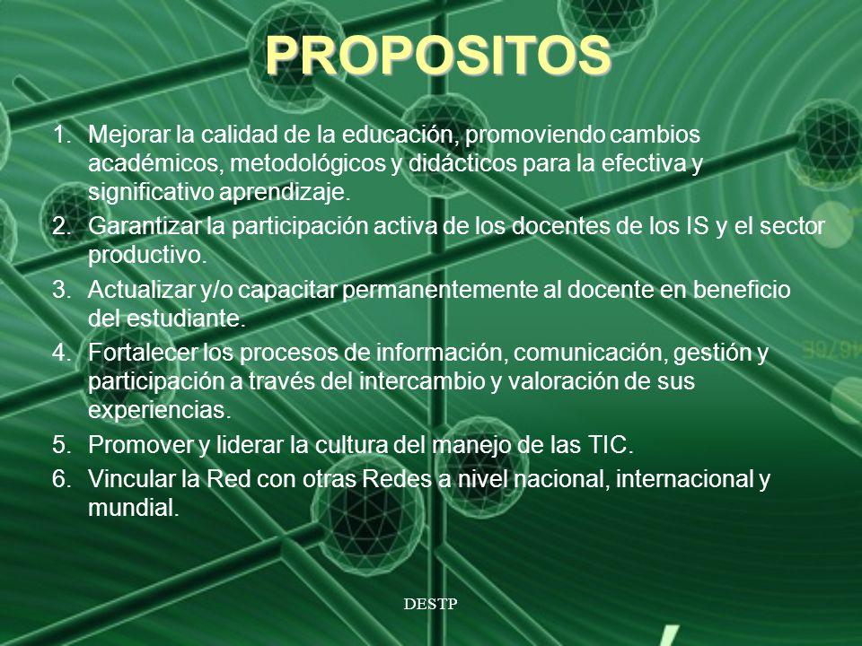 DESTP PROPOSITOS 1.Mejorar la calidad de la educación, promoviendo cambios académicos, metodológicos y didácticos para la efectiva y significativo apr
