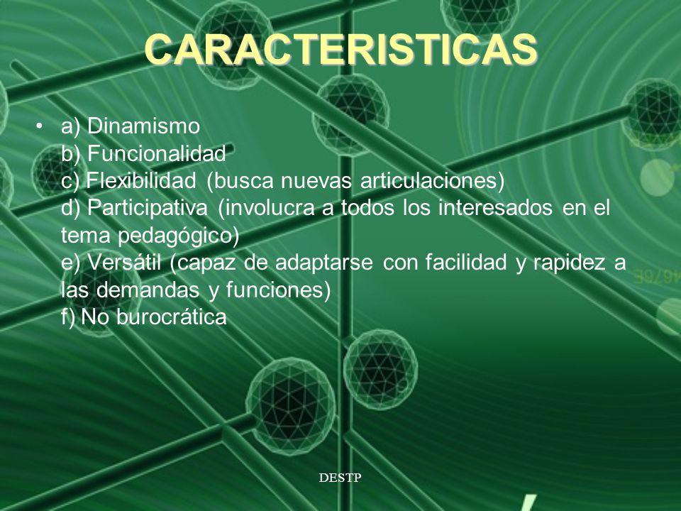 DESTP CARACTERISTICAS a) Dinamismo b) Funcionalidad c) Flexibilidad (busca nuevas articulaciones) d) Participativa (involucra a todos los interesados
