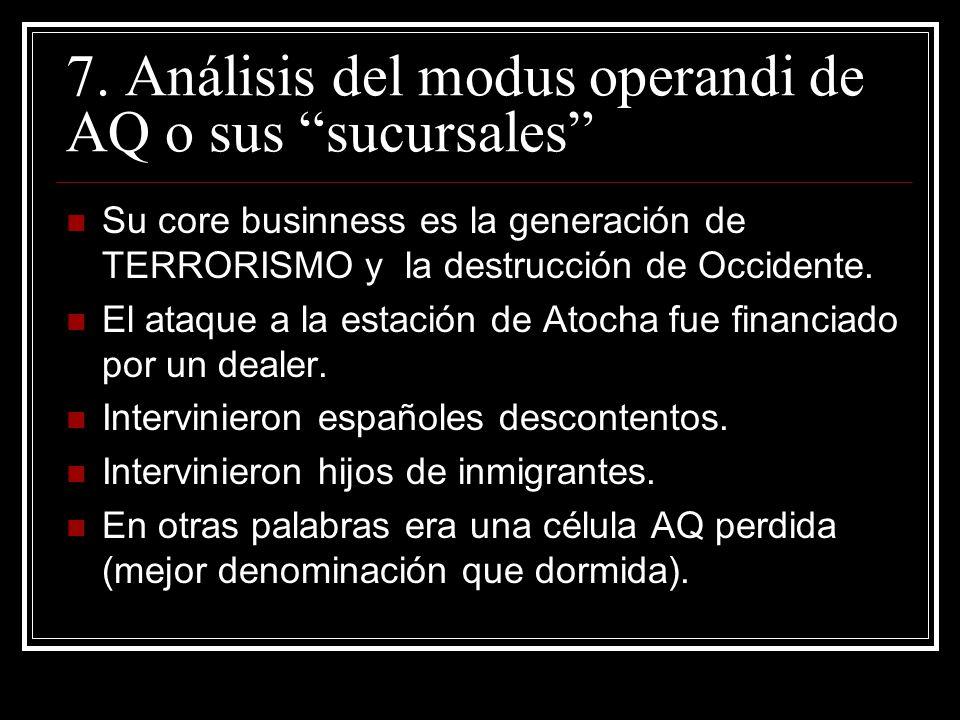 7. Análisis del modus operandi de AQ o sus sucursales Su core businness es la generación de TERRORISMO y la destrucción de Occidente. El ataque a la e