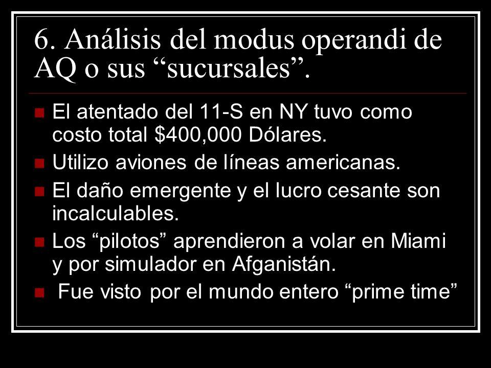 6. Análisis del modus operandi de AQ o sus sucursales. El atentado del 11-S en NY tuvo como costo total $400,000 Dólares. Utilizo aviones de líneas am