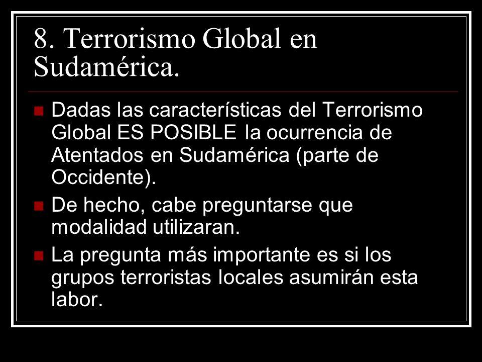 8. Terrorismo Global en Sudamérica. Dadas las características del Terrorismo Global ES POSIBLE la ocurrencia de Atentados en Sudamérica (parte de Occi