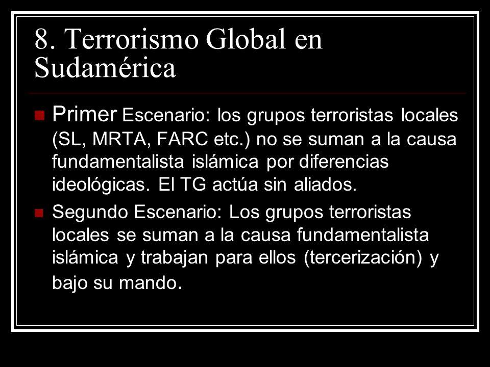 8. Terrorismo Global en Sudamérica Primer Escenario: los grupos terroristas locales (SL, MRTA, FARC etc.) no se suman a la causa fundamentalista islám