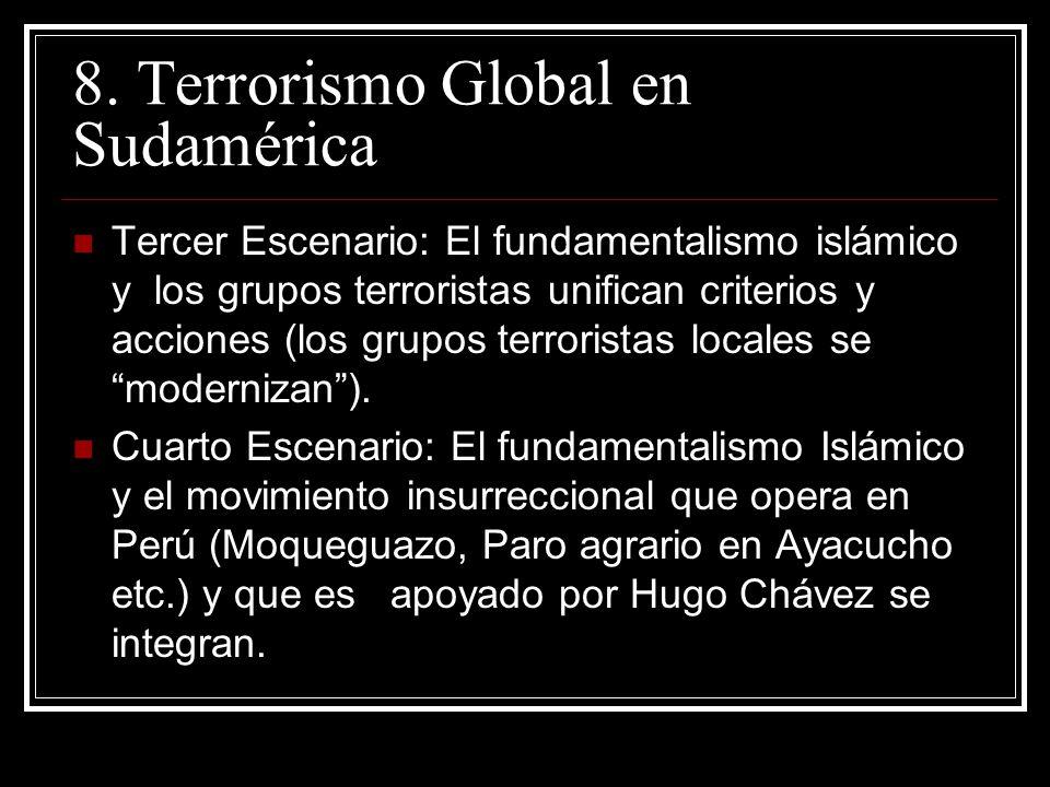 8. Terrorismo Global en Sudamérica Tercer Escenario: El fundamentalismo islámico y los grupos terroristas unifican criterios y acciones (los grupos te