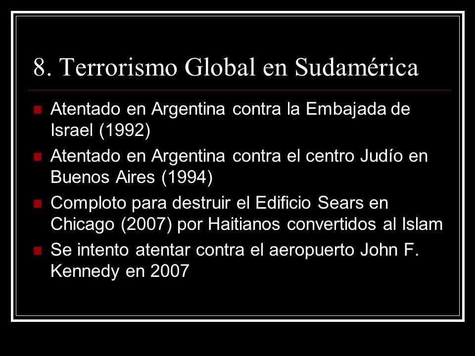 8. Terrorismo Global en Sudamérica Atentado en Argentina contra la Embajada de Israel (1992) Atentado en Argentina contra el centro Judío en Buenos Ai