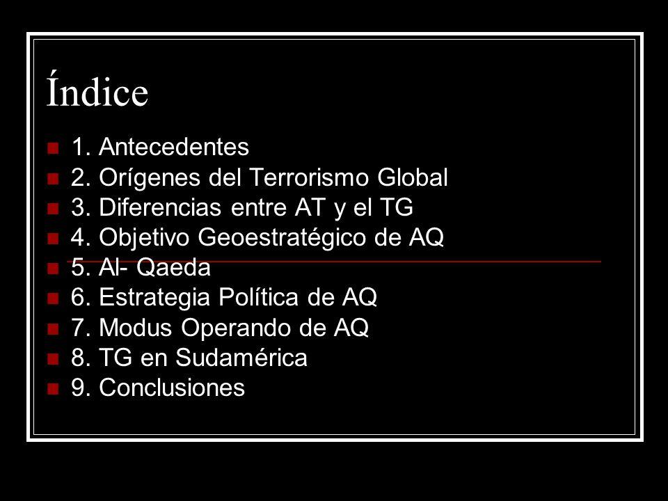 Índice 1. Antecedentes 2. Orígenes del Terrorismo Global 3. Diferencias entre AT y el TG 4. Objetivo Geoestratégico de AQ 5. Al- Qaeda 6. Estrategia P