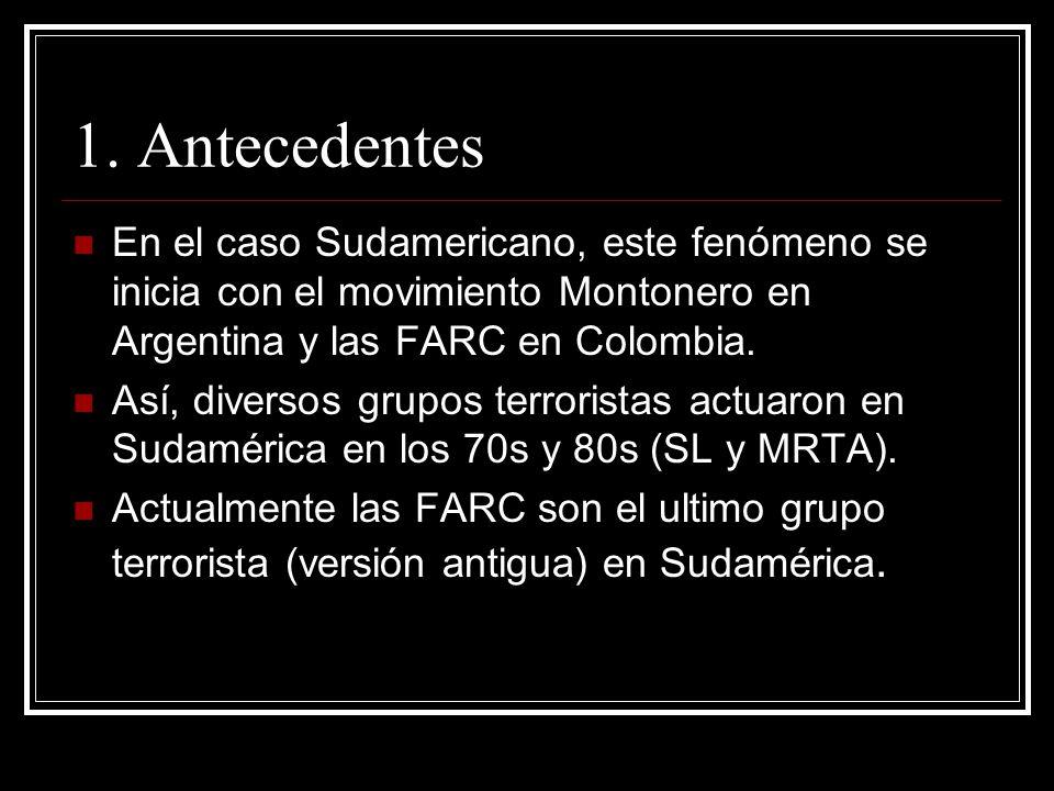 1. Antecedentes En el caso Sudamericano, este fenómeno se inicia con el movimiento Montonero en Argentina y las FARC en Colombia. Así, diversos grupos