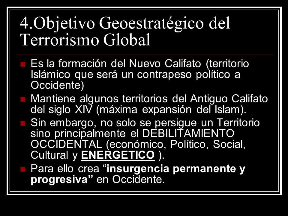 4.Objetivo Geoestratégico del Terrorismo Global Es la formación del Nuevo Califato (territorio Islámico que será un contrapeso político a Occidente) M