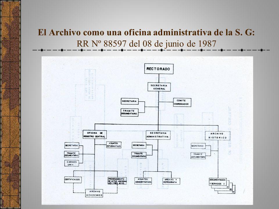 El Archivo como una oficina administrativa de la S. G: RR Nº 88597 del 08 de junio de 1987