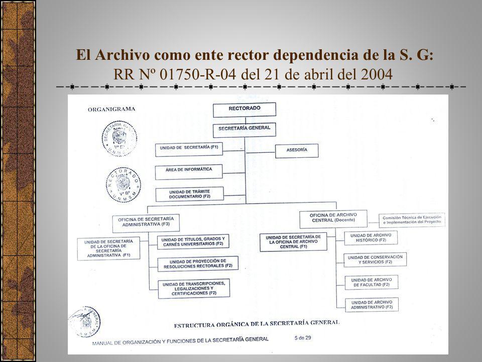 El Archivo como ente rector dependencia de la S. G: RR Nº 01750-R-04 del 21 de abril del 2004