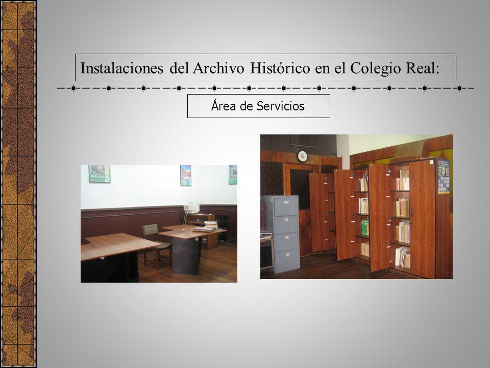 Área de Servicios Instalaciones del Archivo Histórico en el Colegio Real: