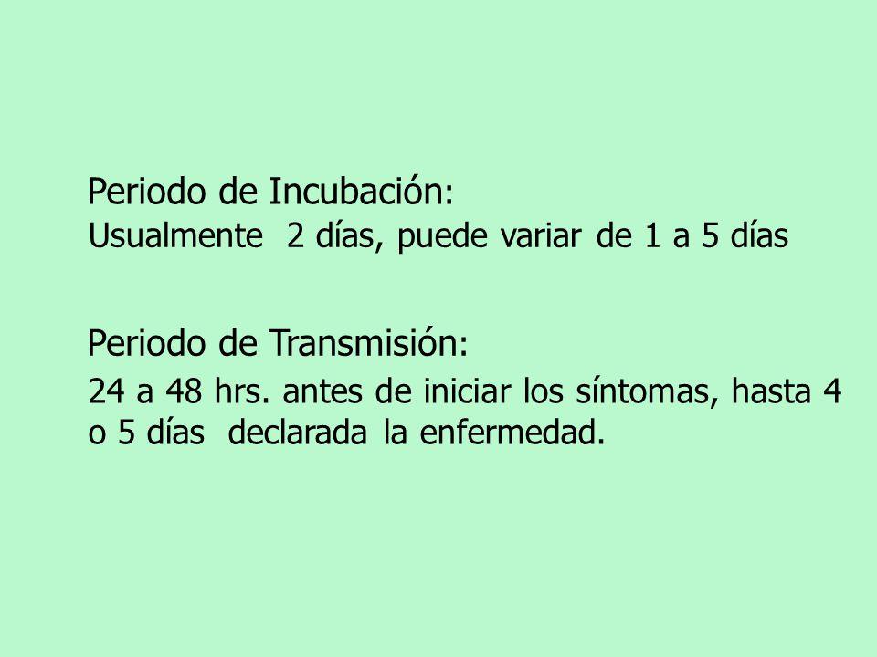 Periodo de Incubación : Usualmente 2 días, puede variar de 1 a 5 días Periodo de Transmisión : 24 a 48 hrs. antes de iniciar los síntomas, hasta 4 o 5