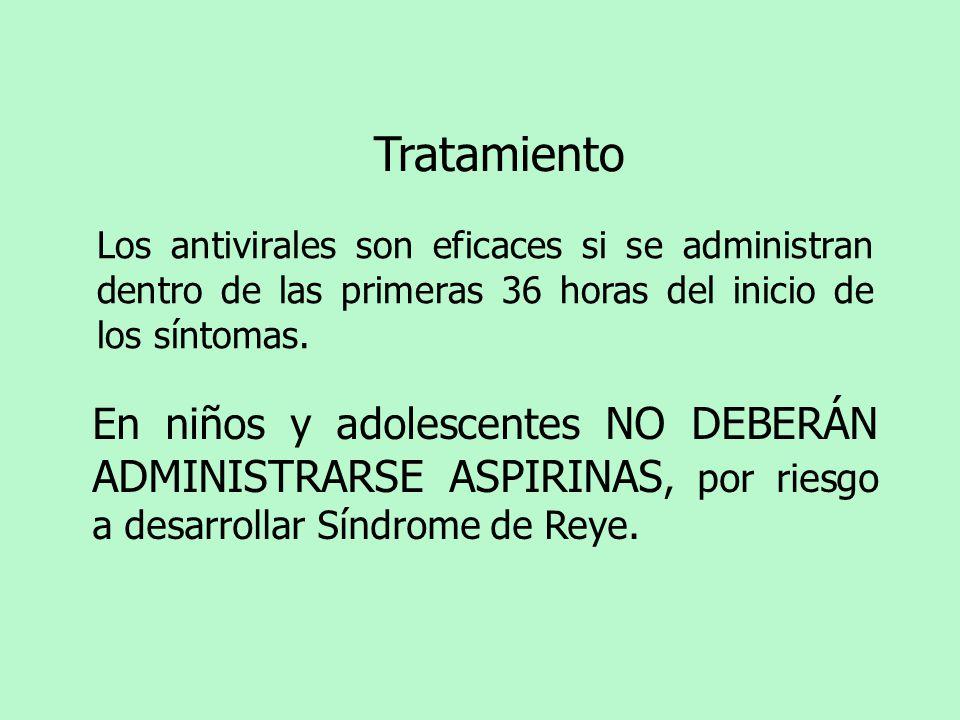 Tratamiento En niños y adolescentes NO DEBERÁN ADMINISTRARSE ASPIRINAS, por riesgo a desarrollar Síndrome de Reye. Los antivirales son eficaces si se