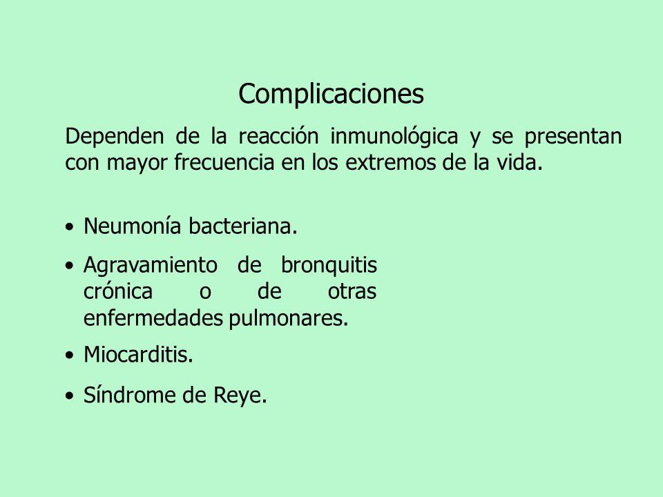 Complicaciones Dependen de la reacción inmunológica y se presentan con mayor frecuencia en los extremos de la vida. Neumonía bacteriana. Síndrome de R